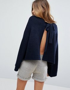 Read more about Micha lounge open back tie detail jumper - navy
