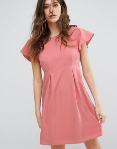Read more about Vero moda emma dress with ruffle sleeves in dusty rose - dusty rose