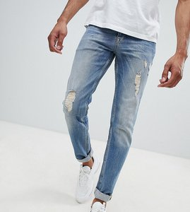 Read more about Asos tall stretch slim in mid blue with rips abrasions - mid wash blue