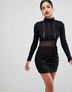 Read more about Rare london lace and ladder detail mini dress - black