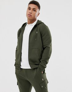 Read more about Polo ralph lauren player logo double tech zip through hoodie in olive green