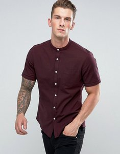 Read more about Asos casual slim oxford shirt with stretch and grandad collar - burgundy