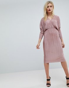 Read more about Asos batwing v-neck plisse midi dress - mink