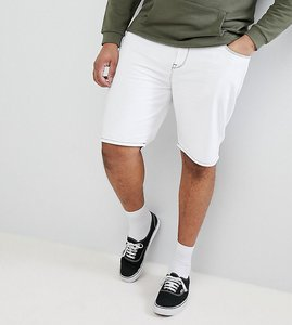 Read more about Asos design plus denim shorts in slim white contrast stitch - white