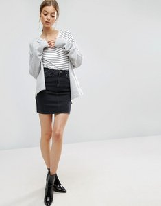 Read more about Asos denim original high waisted skirt in washed black - black