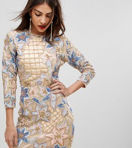 Read more about A star is born mini dress with quilted embroidery embellishment - nude multi