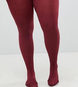 Read more about Asos design curve super stretch 90 denier tights in burgundy - burgundy