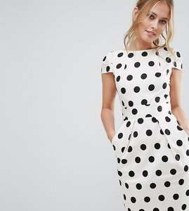 Read more about Closet polka dot cap sleeve midi dress - black white