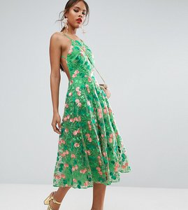Read more about Asos tall salon floral embroidered backless pinny midi prom dress - green