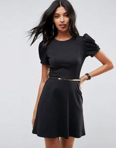 Read more about Asos ponte skater mini dress with puff sleeve and belt - black