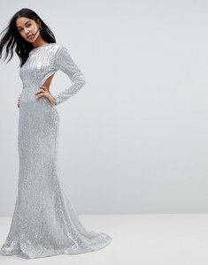 Read more about Club l long sleeve sequin backless maxi dress - silver