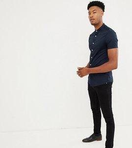 Read more about Asos design tall skinny shirt with grandad collar in navy - navy