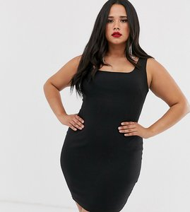 Read more about Vesper curve square neck mini dress in black