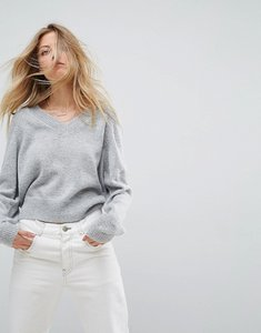 Read more about Asos cropped jumper with v neck in mohair blend - grey marl