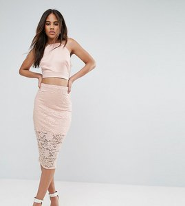 Read more about Asos tall lace pencil skirt - nude