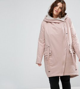 Read more about Asos curve waterfall parka with borg lining - pink