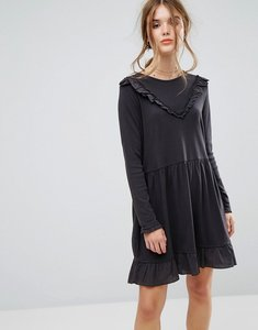 Read more about Leon and harper ruffle mini dress in jersey - off black