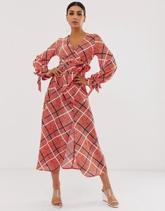 Read more about Asos design wrap maxi dress in textured check