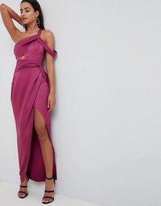 Read more about Asos design satin wrap front twist maxi dress - magenta