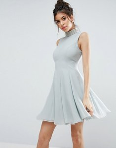 Read more about Asos pearl embellished paneled seamed mini dress - blue