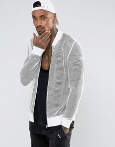 Read more about Asos mesh jersey bomber jacket - white