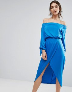 Read more about Lavish alice off shoulder midi dress with tie sleeve - blue