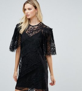 Read more about Asos tall delicate lace patchwork flutter sleeve mini dress - black