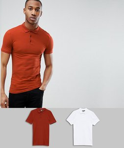Read more about Asos design muscle fit polo in jersey 2 pack save - wht picante