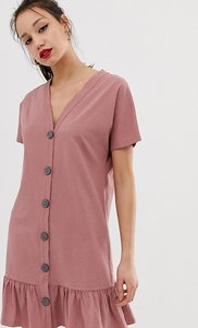 Read more about Asos design tall button through slubby mini dress with pep hem