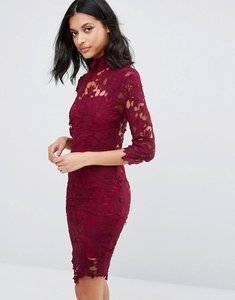Read more about Club l high neck crochet lace detail pencil dress - berry