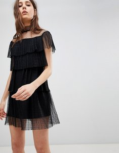Read more about Glamorous mesh tiered dress - black