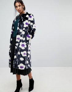 Read more about Warehouse daisy print faux fur coat - multi