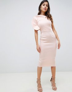 Read more about Asos design circle one shoulder midi bodycon dress - pink