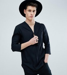Read more about Asos design tall regular fit longline viscose shirt in black with v neck - black