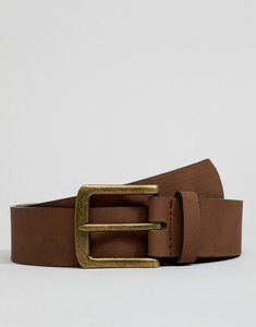 Read more about Asos design vegan wide belt in brown faux leather with vintage gold buckle - brown