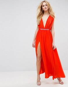 Read more about Asos deep plunge embellished waist maxi dress - hot red