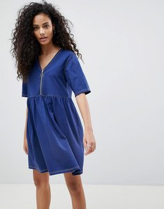 Read more about Asos contrast stitch zip front smock dress - navy