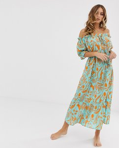 Read more about Asos design off shoulder tiered maxi beach dress in blocked green tropical floral