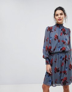 Read more about Y a s floral high neck skater dress - ombre blue flower