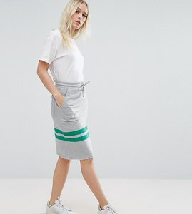 Read more about Asos petite sweat pencil skirt with stripe detail - grey marl