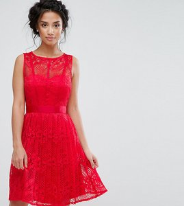 Read more about Little mistress petite lace skater dress with pleated skirt - red