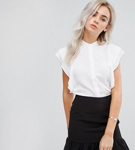Read more about Asos petite blouse with frill shoulder - ivory