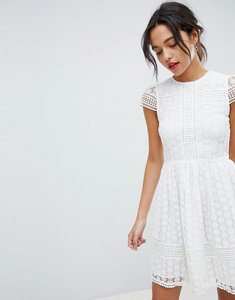 Read more about French connection lace fit and flare dress - summer white