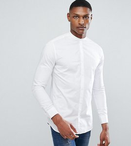 Read more about Selected homme slim shirt with tipped grandad collar - white
