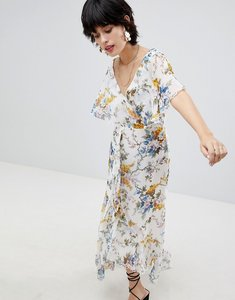 Read more about Warehouse wrap front floral midi dress - multi