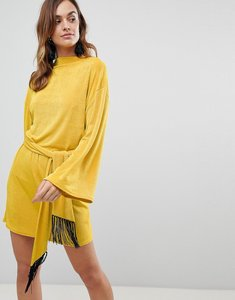Read more about Asos kimono sleeve mini dress with self tie fringe belt - ochre