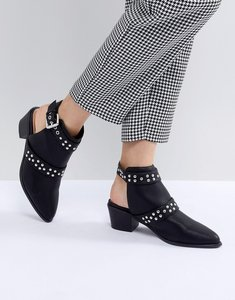 Read more about Miss selfridge backless studded western ankle boots - black