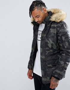Read more about Bershka parka with detachable fur hood in camo print - camo