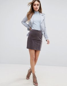 Read more about Glamorous zip front mini skirt - dove grey