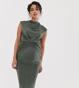 Read more about Asos design maternity drape front belted pencil midi dress